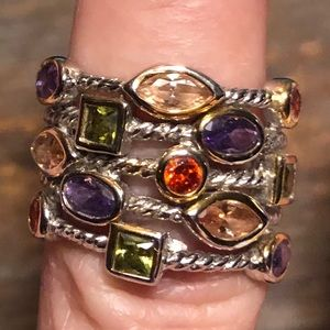 5 Band Silver Multi Gemstone Ring